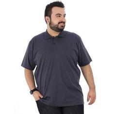 Imagem de Camisa Polo Plus Size Masculina com Bolso Basica Grafite