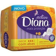 Imagem de Absorvente Diana Active Cobertura Seca com Abas com 8 Undiades