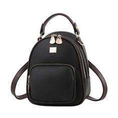 Imagem de Mochila feminina FENICAL MIni de couro PU bolsa escolar casual para compras (), Mini mochila, , About 18 x 9 x 23cm