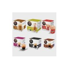 Imagem de Kit com 06 Caixas Total 96 Cápsulas Nescafé Dolce Gusto SELEÇÃO um - Cappuccino Au Lait Nescau Espresso Matinal Espresso Intenso