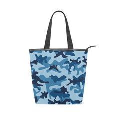 Imagem de Bolsa feminina de lona durável com camuflagem  marinho grande capacidade sacola de compras bolsa de ombro