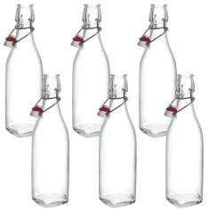 6 Garrafa Vidro Italiana 500Ml Hermética Swing Sucos Drinks