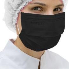 Imagem de Máscara Cirúrgica Protdesc Descartável Tripla Com Elástico Preta 50un.