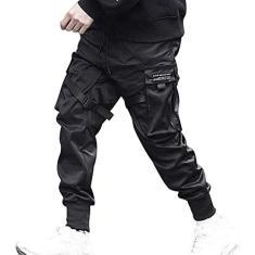 Imagem de Hinbest Calça masculina moderna com vários bolsos, estilo hip hop, casual, harém, cargo esportiva, calça com fivela de bolso grande