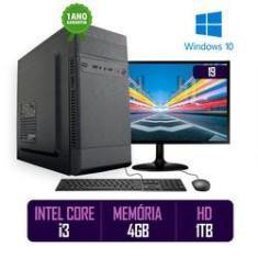 Imagem de Computador PC CPU Completo Intel Core i3 4GB 1TB Windows 10 Monitor 19 LED HDMI Kit Best PC