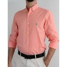 Imagem de Camisa Ralph Lauren Masculina Micro Xadrez Laranja