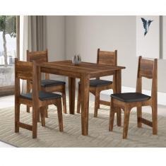 Imagem de Conjunto Sala De Jantar Mesa E 4 Cadeiras Nicoli Soneto Móveis Rústico/