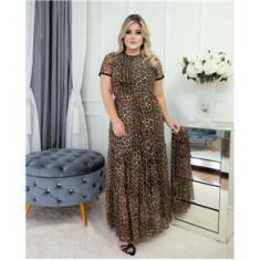 Imagem de Vestido Animal Print Longo Tule Plus Size Moda Casual