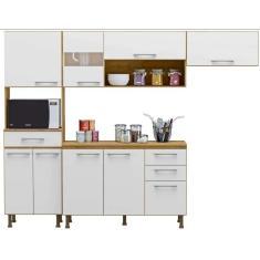 Imagem de Cozinha Compacta 3 Gavetas 9 Portas com vidro Luma Espresso Moveis