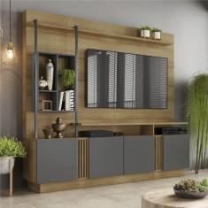 Imagem de Estante Home Industrial Para Tv Até 65 Polegadas 04 Portas Fortuna Jcm Móveis Noronha/Grafite