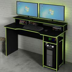 Imagem de Mesa Gamer Ideal Para 2 Monitores Preto/Verde Me4153 - Tecno Mobili