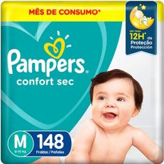 Imagem de Fralda Pampers Confort Sec Tamanho M 148 Unidades Peso Indicado 6 - 10kg