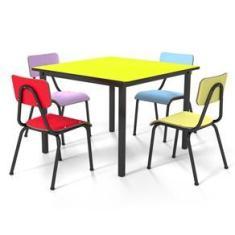 Imagem de Conjunto Escolar 80x80cm Juvenil Colorido Mesa Kiwi
