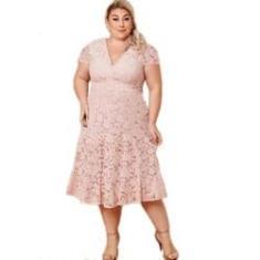 Imagem de Vestido Noiva Renda Plus Size Madrinha Civil Festa Batizado