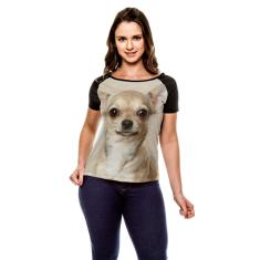 Imagem de Camiseta Raglan Cachorro Chihuahua Bege Baby Look