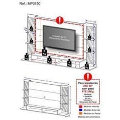 """Imagem de Painel TV 60"""" c/ Espelho e Prateleiras de Vidro Nairóbi Plus Multimóveis Grafite"""