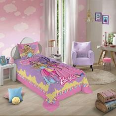 Imagem de Jogo de Cama Solteiro Estampado Barbie Reinos Mágicos 1,50 m x 2,10 m Com 2 peças