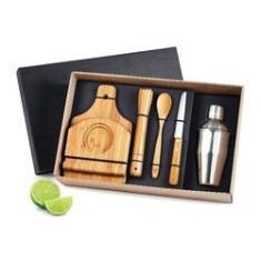 Imagem de Kit Caipirinha Em Bambu 6 peças Coqueteleira Inox 350 ml