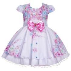 Imagem de Vestido Infantil  Batizado Casamento Floral Daminha