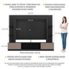 """Imagem de Rack Estante c/ Painel TV 65"""" e 2 portas Oslo Multimóveis /Lacca Fumê"""