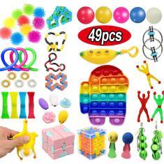 Imagem de 1/49pcs Push Pop Fidget Rainbow Pioneer Stress Relief Toys Kit