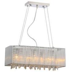 Imagem de Pendente Rammer 70cm Retangular E-27 5 Lamp. Max 60w Prata