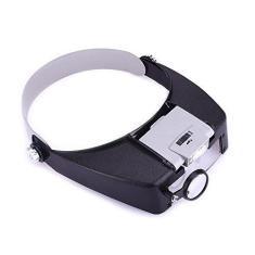 Lupa para cabeça, KKmoon Joalheiros ajustáveis Cabeça Lupa lâmpada para cabeça Lupa iluminada Lupa Óculos de lente Lupa 2 Visor de luz LED para reparo cirúrgico Leitura de precisão do trabalho