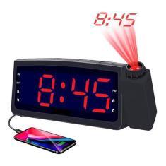 Imagem de Radio Relógio Despertador Digital Rádio Fm Usb Projetor Hora