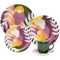 Aparelho de Jantar Redondo de Cerâmica 20 peças - Floreal Veraneio Oxford Porcelanas