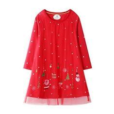 Imagem de Houfung Vestido infantil de 2 a 7 anos, vestido de manga comprida com capa de malha, vestido infantil de Natal para festas, , 6 anos