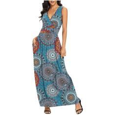 Imagem de Moda feminina casual sem mangas com decote em v estampado feminino vestido longo fino 2XL