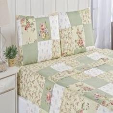 Imagem de Jogo de cama estampado Bouti 4 peças casal queen patchwork verde