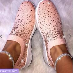 Imagem de Sapatos femininos grandes de tecido elástico com botas de broca Sapatos casuais de lazer