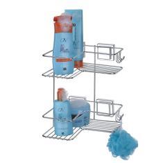 Imagem de Porta Shampoo De Canto Duplo Com Ventosa 28x28cm Cromada 1301 Arthi
