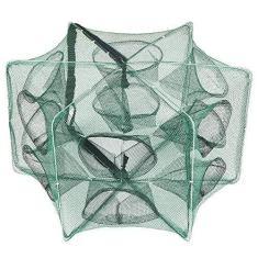 Rede de pesca, Romacci Rede de pesca dobrável Hexágono Rede de pesca com 6 furos Armadilha de gaiola de camarão Iscas de caranguejo minnow Rede de armadilha de malha
