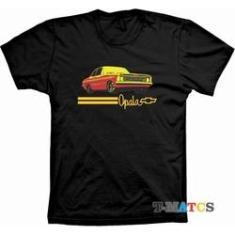 Imagem de Camiseta T-Matcs, com estampa em silk, tema carro Opala, masculina em malha de algodão penteada.