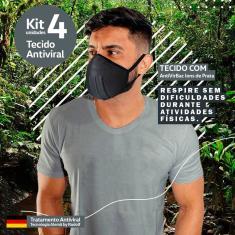 Imagem de Kit 4 Máscaras Tecido Antivirus Filtragem Similar Mascara N95 Lavável Anatômica íons de Prata Unissex