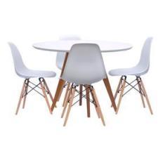 Imagem de Conjunto Mesa Square Redonda 88cm com 4 Cadeiras Eiffel -