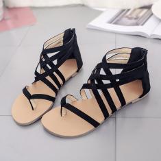 Imagem de Sandálias femininas elegantes de verão da moda sapatos baixos sapatos de bico aberto feminino sandálias