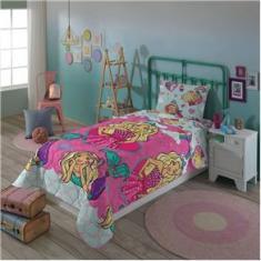Imagem de Edredom Infantil Dupla Face Solteiro Lepper Barbie Reinos Mágicos