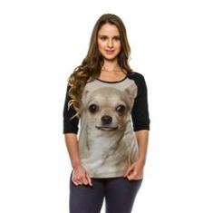 Imagem de Camiseta Raglan Cachorro Chihuahua Bege Manga 3/4