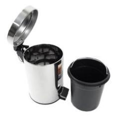 Imagem de Lixeira Inox Com Pedal 3l Cesto De Lixo 3l Redonda Cozinha