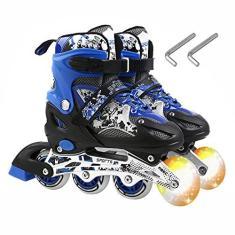 Imagem de Skate, Baugger Patins Inline States Ajustáveis com Rodas Iluminadas Patins Iluminadores para Crianças Adultos Interior e Exterior