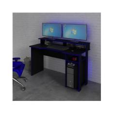 Mesa Gamer Me4153 Preto/Azul - Tecnomobili