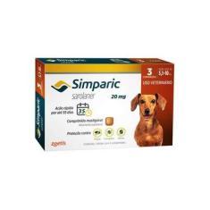 Antipulgas Simparic 20 Mg Para Cães Entre 5,1 A 10 Kg Cx C/ 3 Comprimidos Zoetis Validade 07/22