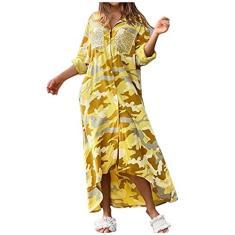 Imagem de Vestido feminino de camuflagem, casual, estampa floral, elegante, vestido longo com bolso, vestido boêmio, , XG
