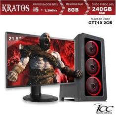 Imagem de Pc Gamer Icc Completo Intel Core I5 3,20 Ghz 8Gb 240Gb Ssd Gt710 2Gb Monitor 21 Windows 10