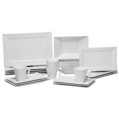 Aparelho de Jantar Retangular de Porcelana 42 peças - Plateau White Oxford Porcelanas