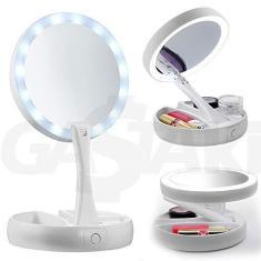 Imagem de Espelho para MAQUIAGEM Dobrável Dupla Face Aumento 10X com Luz LED e Organizador