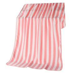 Imagem de DOITOOL 1 toalha de banho listrada de lã coral, toalha de praia grossa listrada, toalha de banho macia para banho, natação, praia